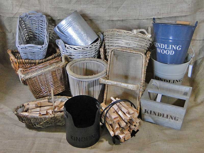 Kindling baskets and buckets