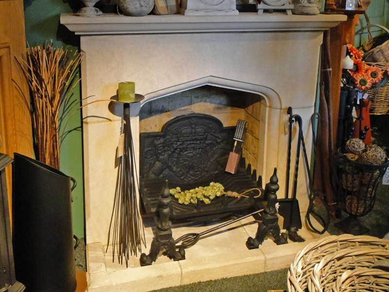 Stone fireplace and candle accessories