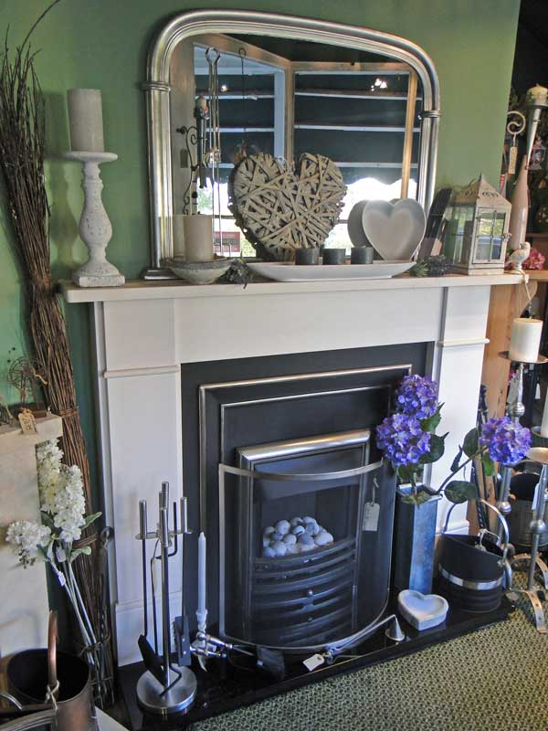 Fire place with stone mantel