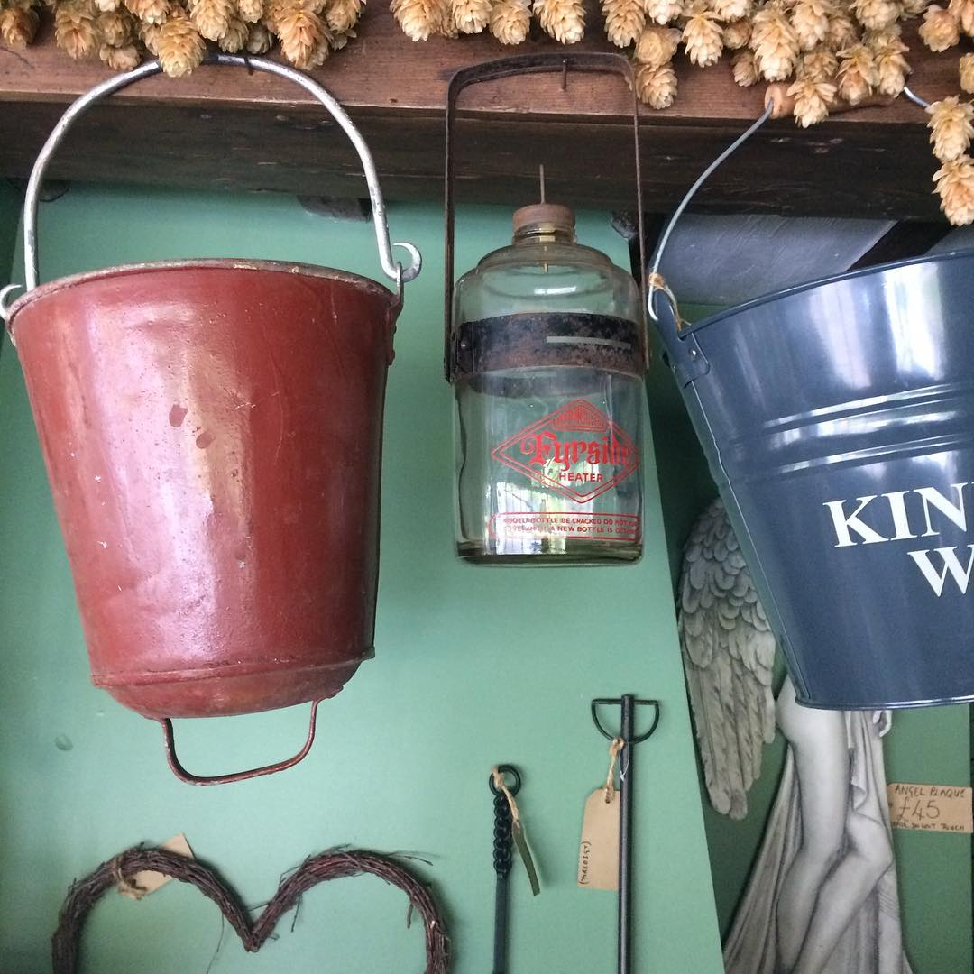 Vintage fire buckets and lanterns